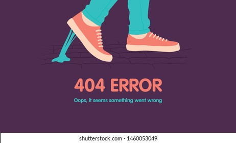 404 error page not found. Foot stuck into chewing gum on the street. Went wrong. Vector flat cartoon illustration