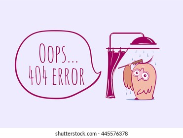 404 error, page not found with funny owl. Web page for site. Funny error 404 page vector illustration