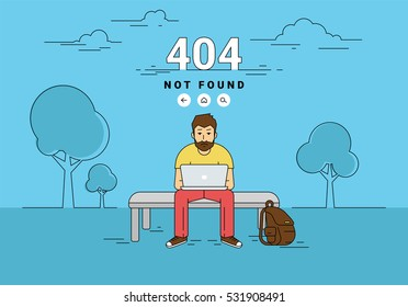 404 error page not found illustration of young upset man is sitting with laptop outdoors and seeing 404 error on screen. Flat outlined illustration of guy working with laptop and problems with website