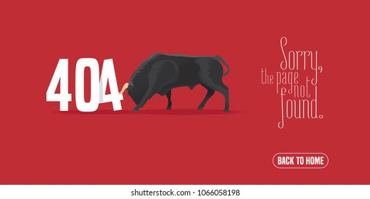 404 error page vector illustration, banner with not found message. Bull fighting with failure warning sign background for website error 404 concept design element
