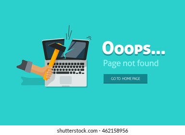 404 error page vector illustration on blue background, page not found design