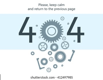 404 error page vector template for website. Light white and blue background. Pile of cogwheels, nuts and screws falling into pieces. Text warning message. 404 page not found.