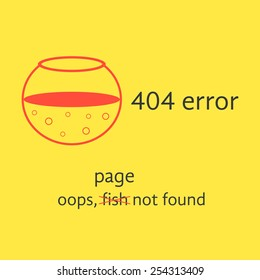 404 error with red empty aquarium. concept of page not found, under construction, http, error message, server response. isolated on yellow background. flat style modern logo design vector illustration