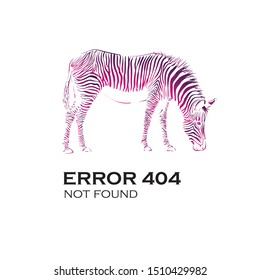404 error vector illustration for the site isolated on white background, multi-colored zebra