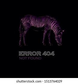 404 error vector illustration for the site isolated on black background, multi-colored zebra
