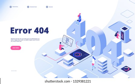 404 isometric page. Not working error lost not found 404 sign problem landing vector design