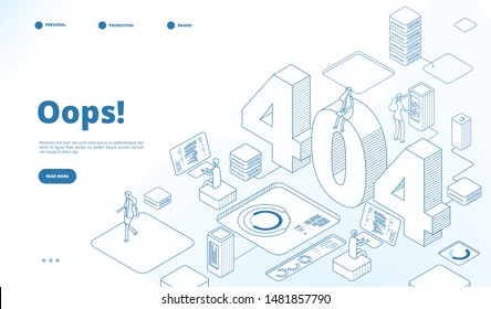 404 isometric page. Not working error, lost data or not found 404 problem, disconnection sign. Landing page vector line 3d design