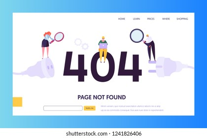 404 Maintenance Error Landing Page Template. Page Not Found Under Construction Concept with Characters Workers Fixing Internet Problem for Website. Vector illustration