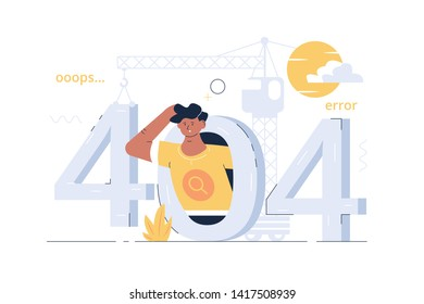 404 ooops error vector illustration. Page not found flat style concept. Template for web site with surprised man and crane hooking numerals. Problem disconnect