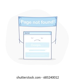 """404 page, page not found or error flat line illustration concept. Cute frustrated webpage with flag """"Page not found"""". Isolated vector icon."""