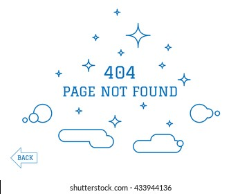404 Page not found isolated message among the stars and clouds.