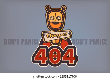 404 Page not found vector illustration. Web internet problem with internet page. Bot flat and pop art styled. Vector illustration. Retro styled.