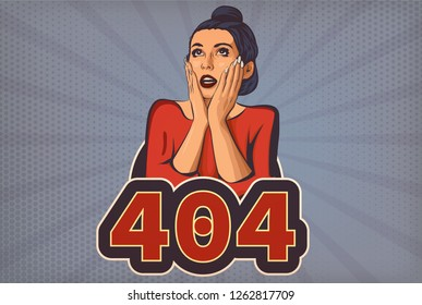 404 Page not found vector illustration. Web internet problem with internet page. Woman with open mouth cartoon pop art styled. Vector illustration. Retro styled.