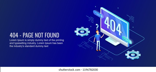 404 Symbol on computer screen - Page not found - 3D isometric vector illustration