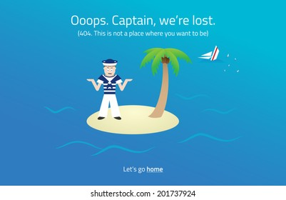 404 web page. Sailor on desert island theme. Vector format.