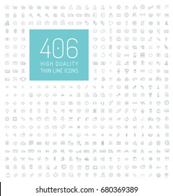 406 high quality universal thin line icons