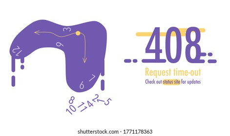 408 error. Request time-out. Need to update page. Banner or website with system fatal error.Support service. Melted clock wit missed numbers. Technical problems. Vector illustration in flat style