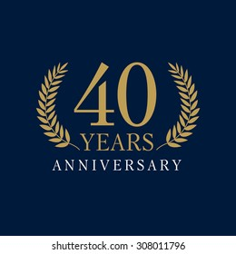 40s years old luxurious logo. Anniversary year of 40 th vector gold colored template framed of palms. Greetings ages celebrates. Celebrating laurel branches. 4 th place symbol of victory and success.