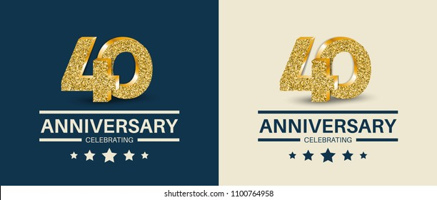 40th Anniversary celebrating cards template. 40 - year jubilee banner.