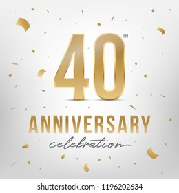 40th anniversary celebration golden template. Shiny gold numbers with confetti around. Vector illustration.