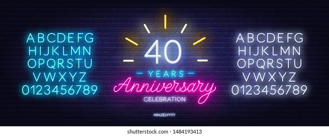 40th anniversary celebration neon sign on dark background. Neon alphabet . Template for invitation or greeting card.