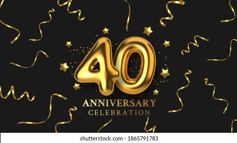 40th Anniversary celebration. Number in the form of golden balloons. Realistic 3d gold numbers and sparkling confetti, serpentine. Horizontal template for Birthday or wedding event. Vector