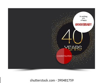 40th anniversary decorated greeting card template.