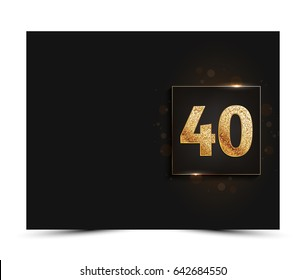 40th anniversary decorated greeting / invitation card template with gold elements.