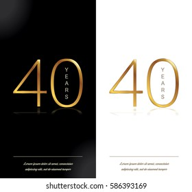 40th anniversary decorated greeting/invitation card template.