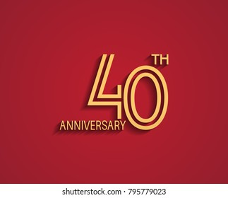 40th anniversary design logotype with line style golden color for celebration event isolated on red background