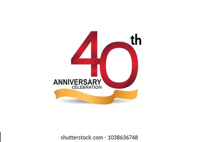 40th anniversary design logotype red color and golden ribbon for celebration isolated on white background