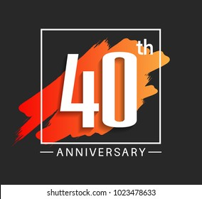 40th anniversary design with orange color brush in square isolated on black background for celebration