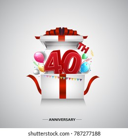 40th anniversary design with red number inside gift box isolated on white background for celebration event