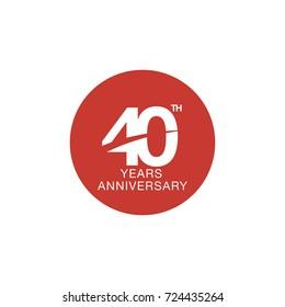 40th anniversary emblem. Forty years anniversary celebration symbol
