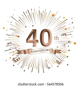 40th Anniversary greeting Card with Starburst. Vector illustration.
