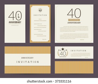 40th anniversary invitation cards template.