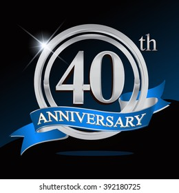 40th anniversary logo with blue ribbon and silver ring, vector template for birthday celebration.