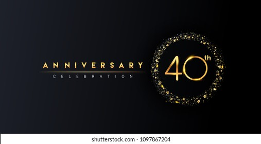 40th anniversary logo with confetti and golden glitter ring isolated on black background, vector design for greeting card and invitation card.
