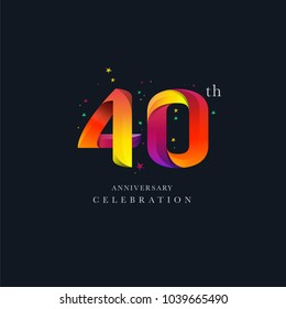 40th Anniversary Logo Design, Number 40 Icon Vector Template.