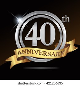 40th anniversary logo, with shiny silver ring and gold ribbon isolated on black background. vector design for birthday celebration.