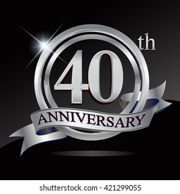 40th anniversary logo with silver ring and ribbon. Vector design template elements for your birthday celebration.