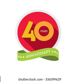40th anniversary logo template with shadow on circle number 4 (four). 40 years icon. Forty years birthday party symbol. Thirtieth holiday sticker, ribbon, banner, poster, logotype, emblem, tag