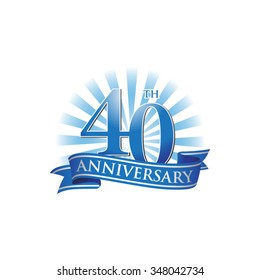 40th anniversary ribbon logo with blue rays of light