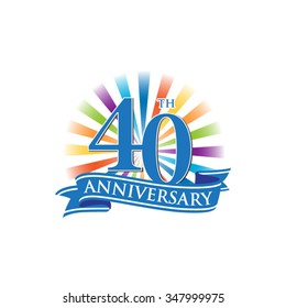 40th anniversary ribbon logo with colorful rays of light