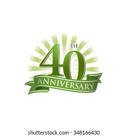 40th anniversary ribbon logo with green rays of light