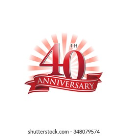 40th anniversary ribbon logo with red rays of light