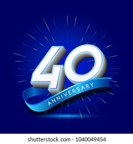 40th Anniversary with ribbon , anniversary template design for web, game , Creative poster, booklet, leaflet, flyer, magazine, invitation card