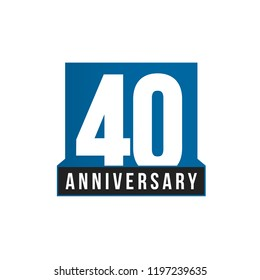 40th Anniversary vector icon. Birthday logo template. Greeting card design element. Simple business anniversary emblem. Blue strict style number. Isolated vector illustration on white background.
