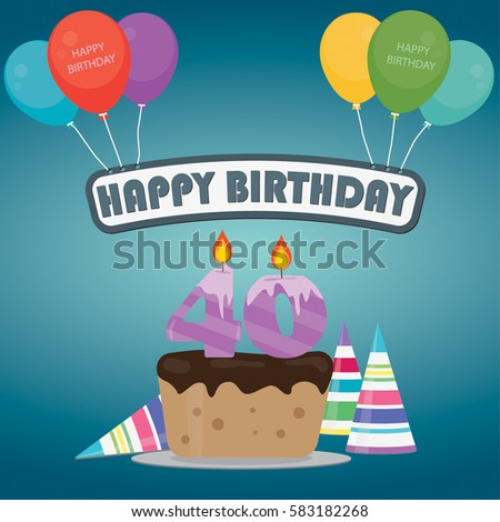 40th Birthday Cake And Decoration Background In Flat Design With Balloons Candles