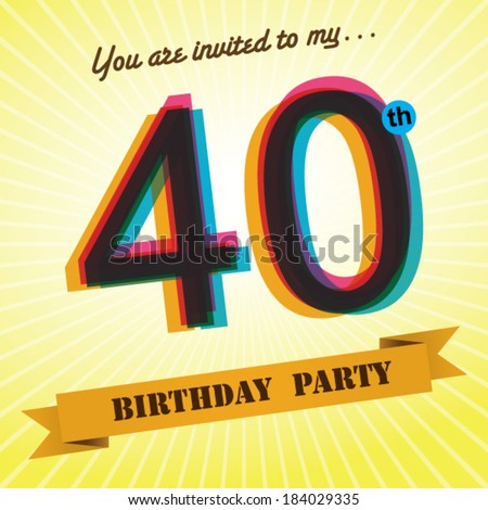 40th Birthday Party Invite Template Design In Retro Style